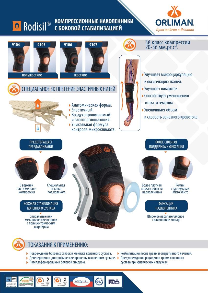 Жесткий ортез коленного сустава Orliman 9107 серии Rodisil